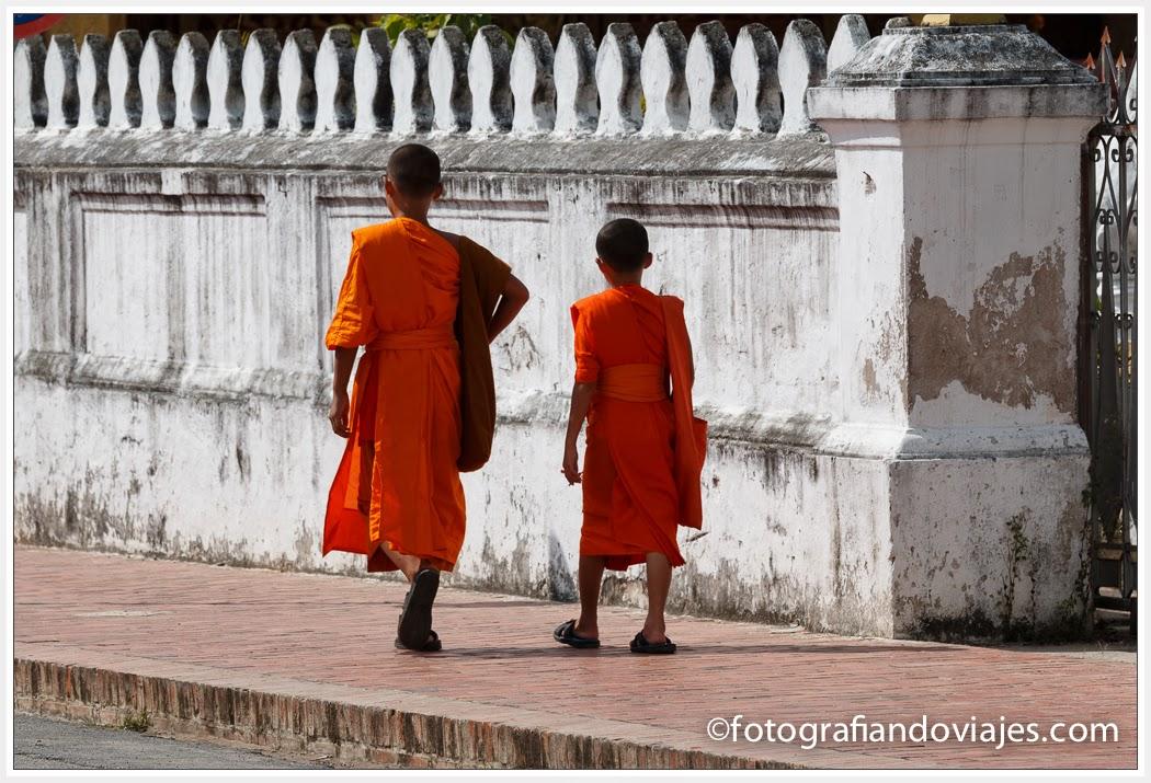 monjes en Luang Prabang en Laos