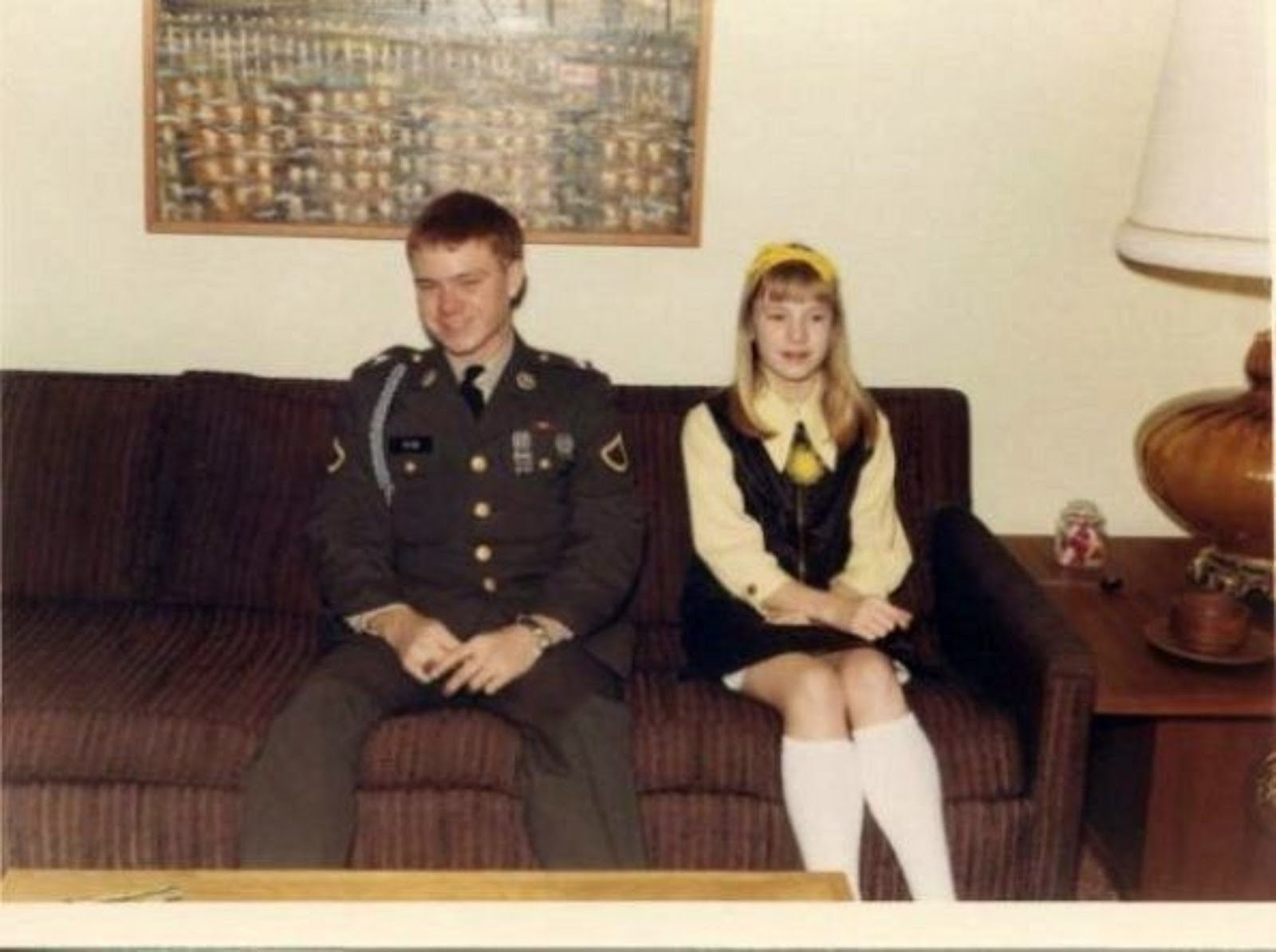 ME PFC GREG PAYNE AND MY LITTLE SISTER KATHY F. PAYNE JUST BEFORE I LEFT FOR VIETNAM ON THE NIGHT O