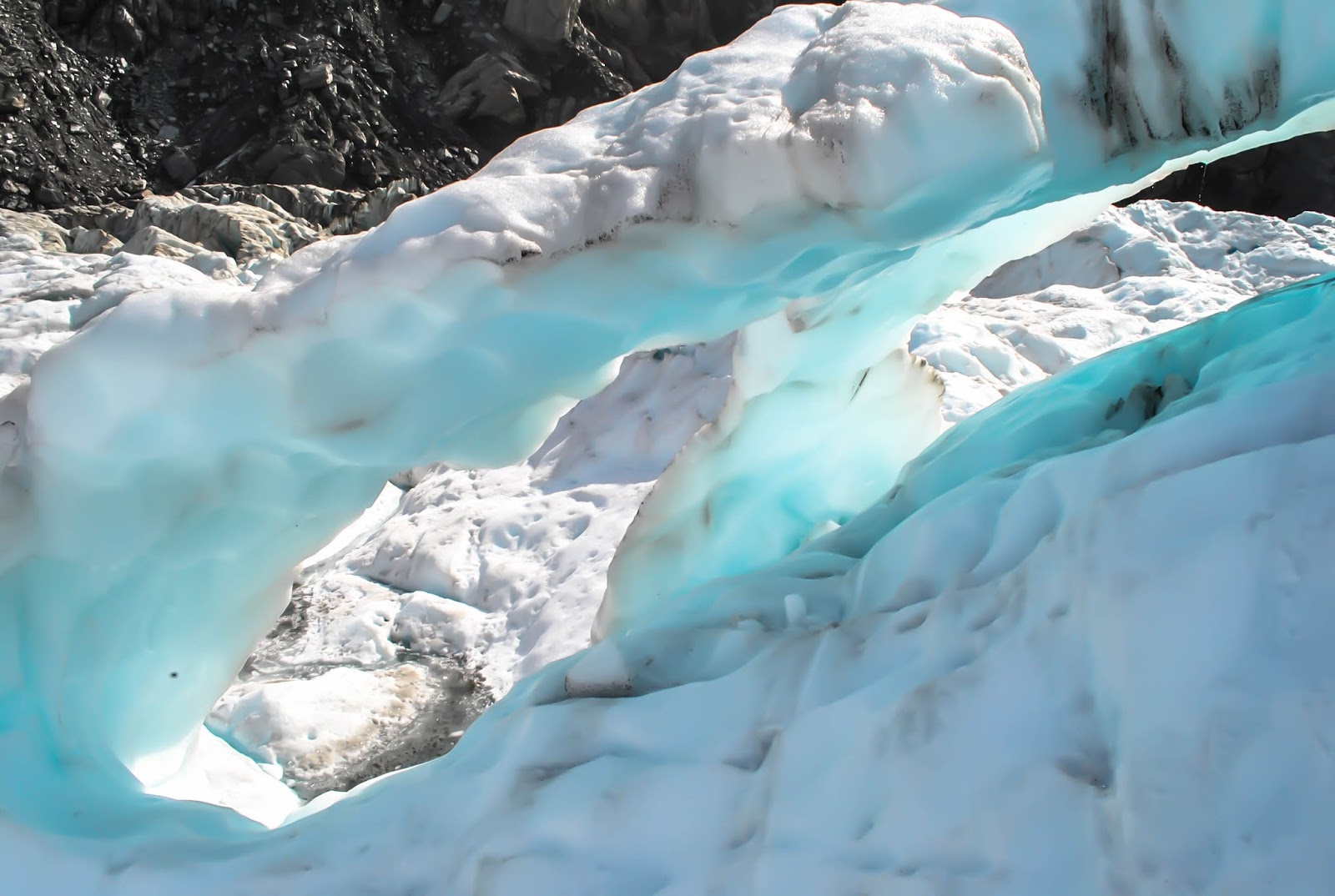 Ice arches at Fox Glacier on the South Island in New Zealand