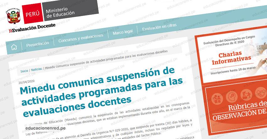 COMUNICADO MINEDU: Suspenden actividades programadas para las Evaluaciones Docentes 2020 (Concurso Nacional Docente) www.minedu.gob.pe