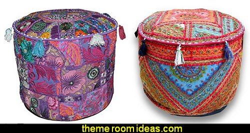 Indian pouf cover ottoman