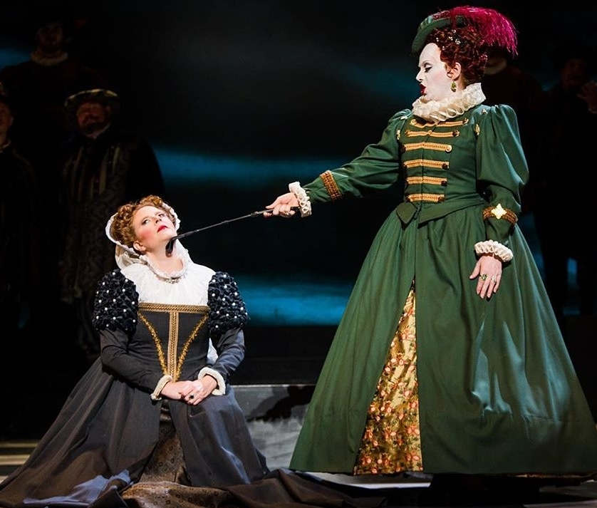 IN REVIEW: sopranos JODI BURNS as Maria Stuarda (left) and YULIA LYSENKO as Elisabetta I (right) in Piedmont Opera's October 2019 production of Gaetano Donizetti's MARIA STUARDA [Photograph © by André Peele & Piedmont Opera]