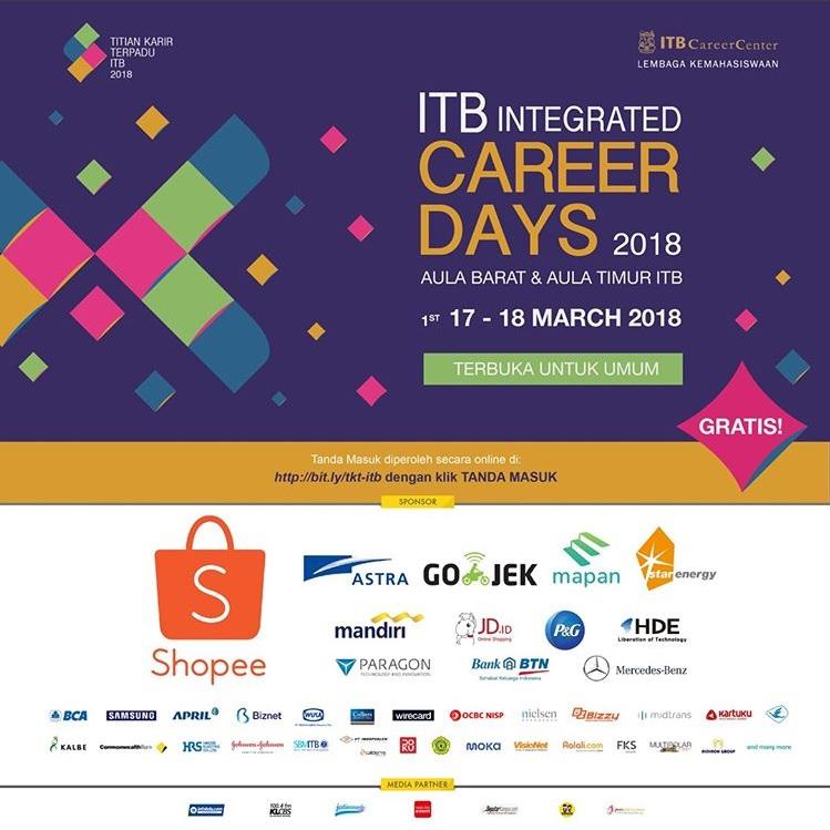 Job Fair Titian Karir Terpadu ITB 17 - 18 Maret 2018 Terbuka Untuk Umum & Gratis