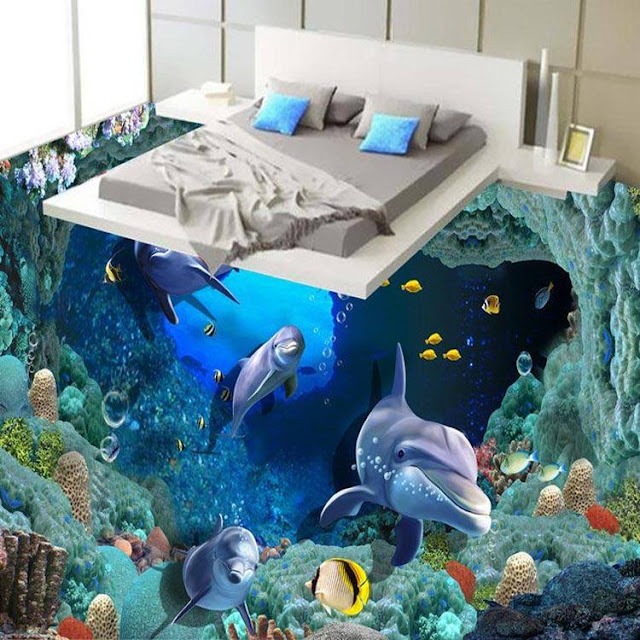 Close to reality 3d floor designs with fish in bedroom