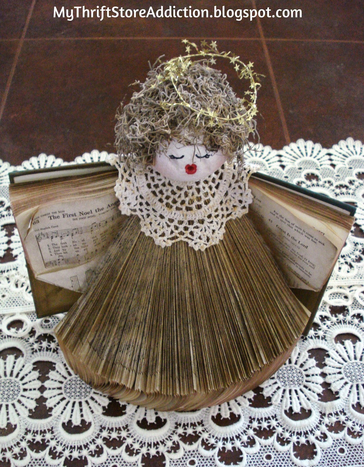 Upcycled hymnal angel