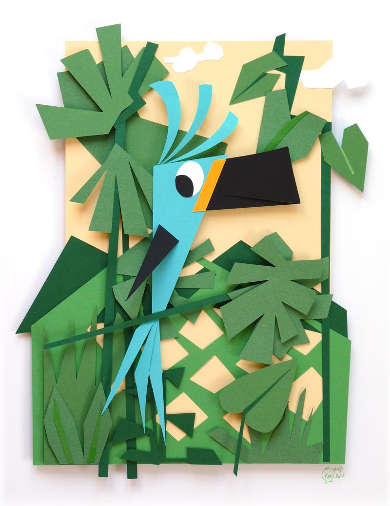 Voici le résulatta de mon shooting photo sur mon toucan bleu en papier dans sa jungle au feuillage vert.