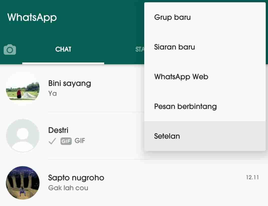 Cara mengetahui orang yang sering chat dengan pacar kamu di WhatsApp 1
