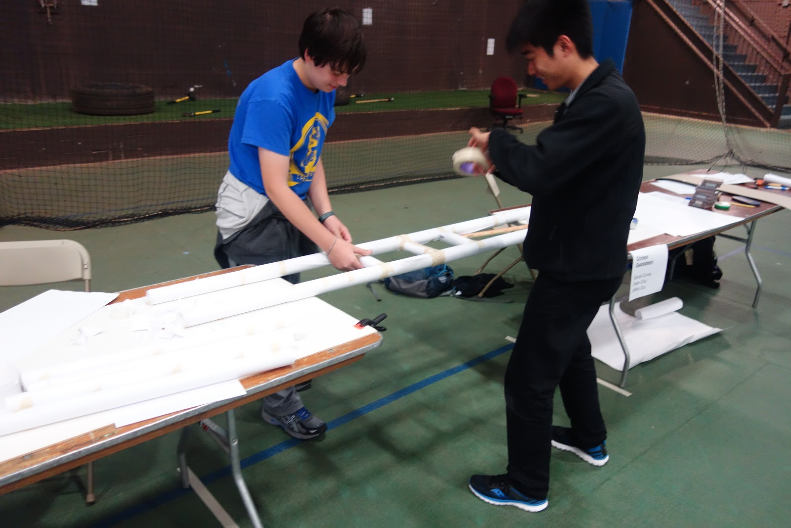 The Students Were Given Their Challenge To Design And Build A Four Foot Span Paper Bridge Teams Worked Intensely Designing Building Testing