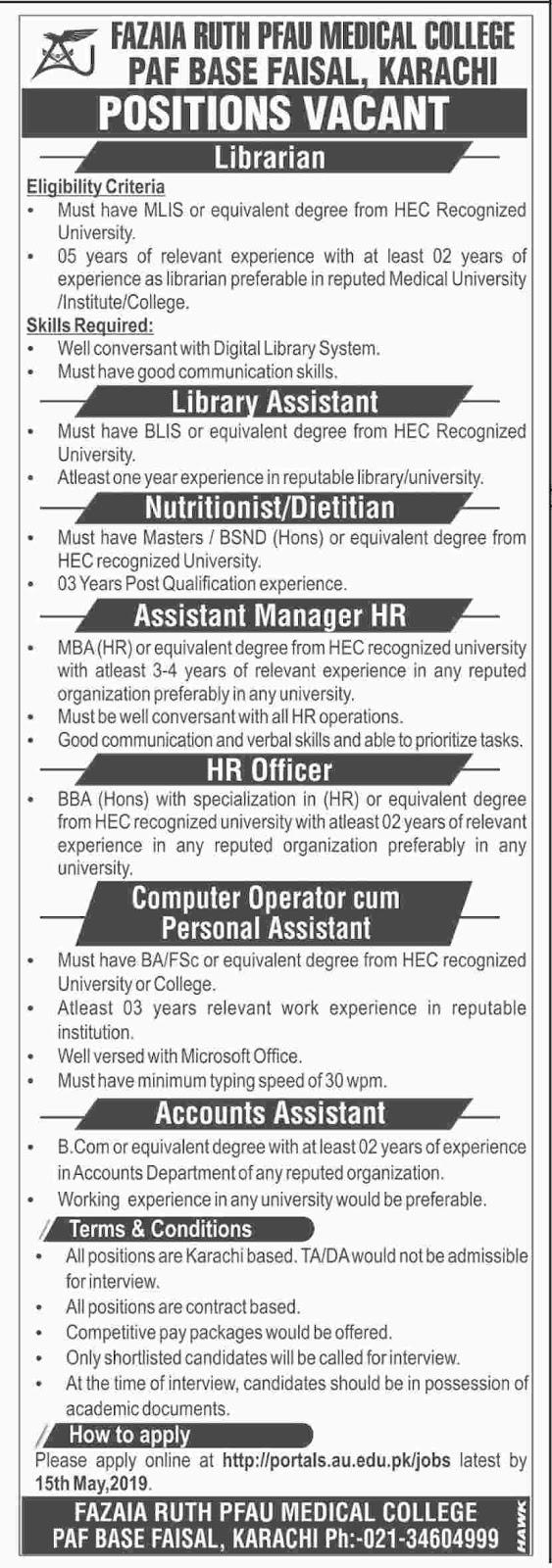 ➨ #Jobs - #Career_Opportunities - #Jobs -  Fazaia RUTH PFAU Medical College – PAF Base Faisal, Karachi–for application visit the link