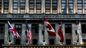 Flags from entrance in Royal York Hotel