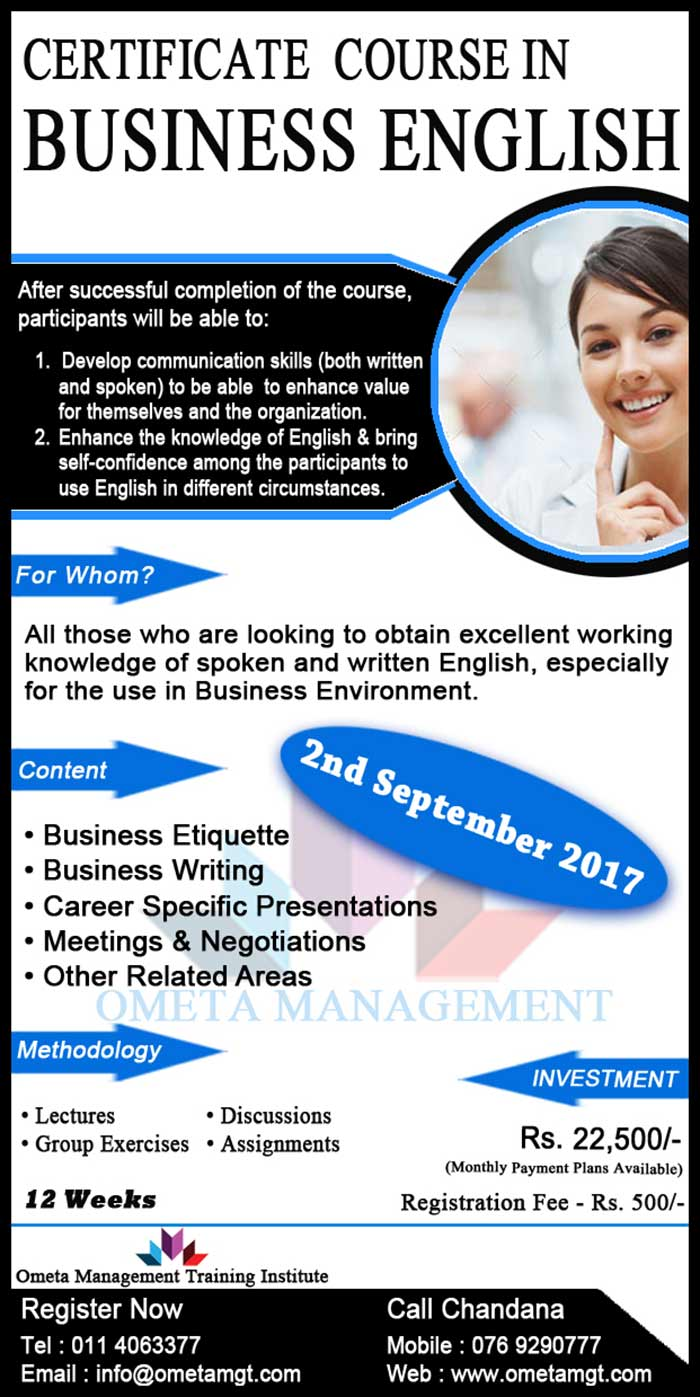 Ometa Management | Certificate Course in Business English.