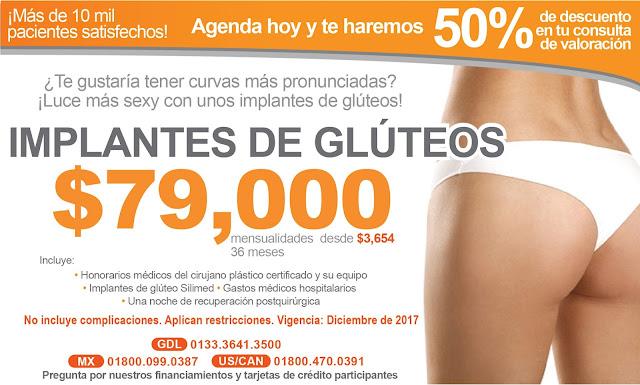 Precio Paquete Levantamiento Aumento Implantes Gluteos Guadalajara Mexico