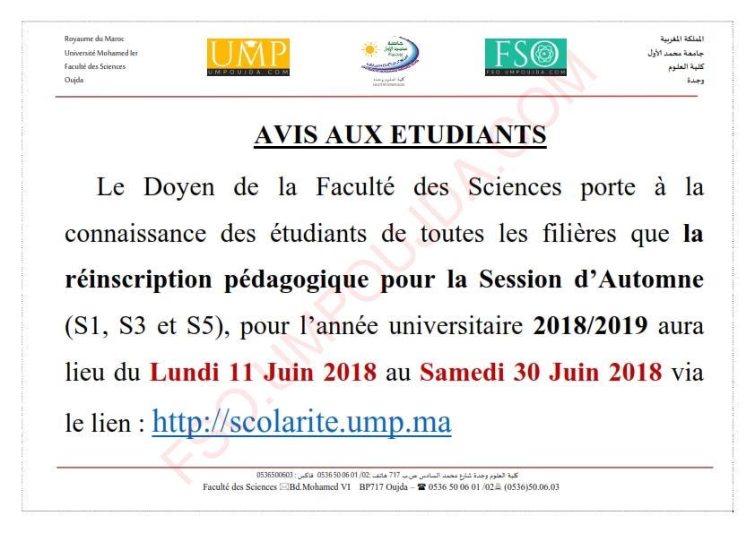 Avis : Réinscription pédagogique pour la Session d'Automne 2018/2019