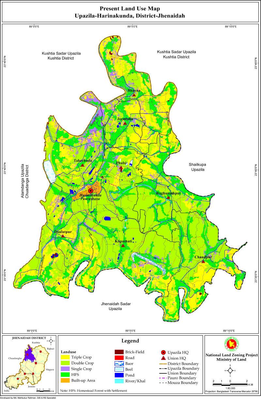 Harinakunda Upazila Mouza Map Jhenaidah District Bangladesh