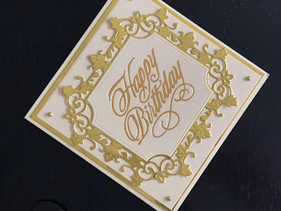 Hot foil happy birthday card with gold die cut border