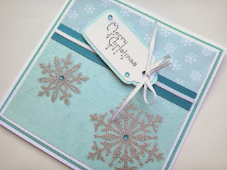 Hand made Christmas Card adhesive glitter snowflakes and stamped greeting