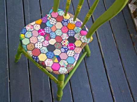 Faux Quilt Decoupage Chair by Debi's Design Diary