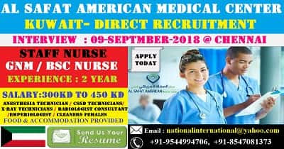 STAFF NURSE RECRUITMENT IN AL SAFAT AMERICAN MEDICAL CENTER - KUWAIT
