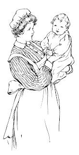 baby nurse vintage illustration image