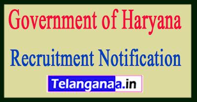 Government of Haryana Recruitment Notification