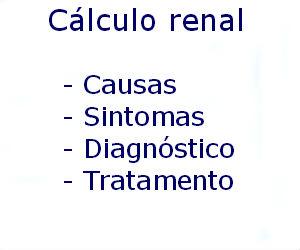 Cálculo renal causas sintomas diagnóstico tratamento prevenção riscos complicações
