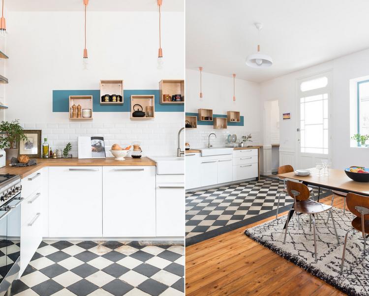 Casa da rivista a bordeaux arredamento facile for Piastrelle cucina bianche e nere