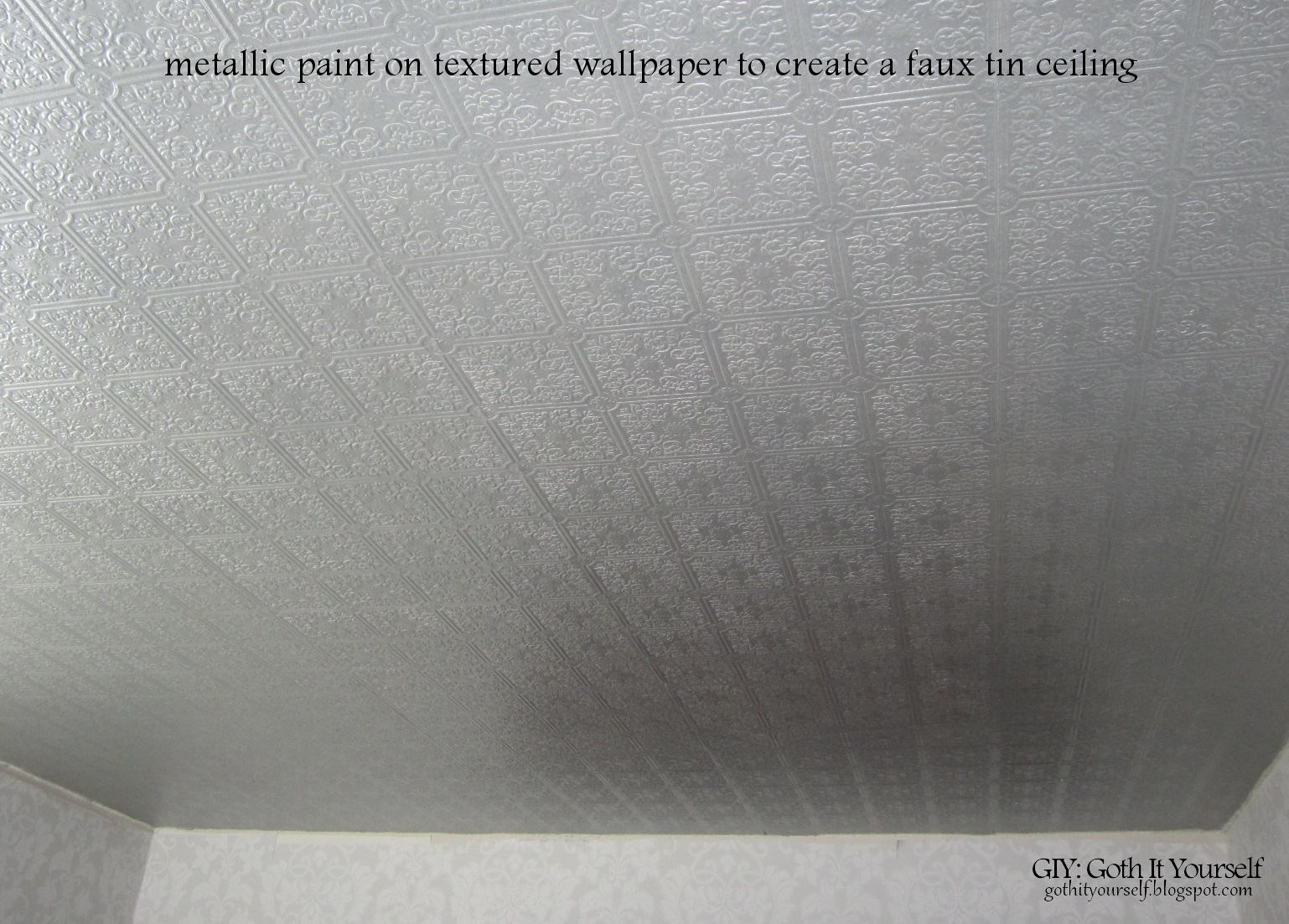 Create A Faux Tin Ceiling With Wallpaper