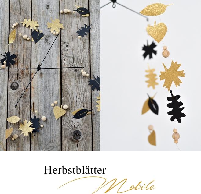 Herbstblätter in Gold und Schwarz