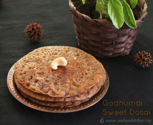 images of Godhumai Sweet Dosai / Vella Dosai / Sweet Wheat Dosa / Wheat Jaggery Pancakes