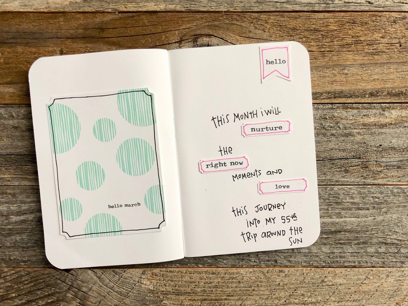 #Hello March #travelers notebook #A6 notebook #midori #Hello #Right Now #Love #Nurture
