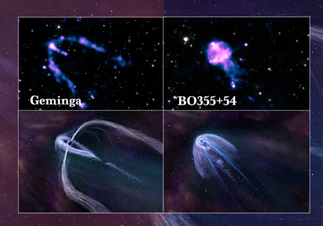 A tale of two pulsars' tails: Plumes offer geometry lessons to astronomers