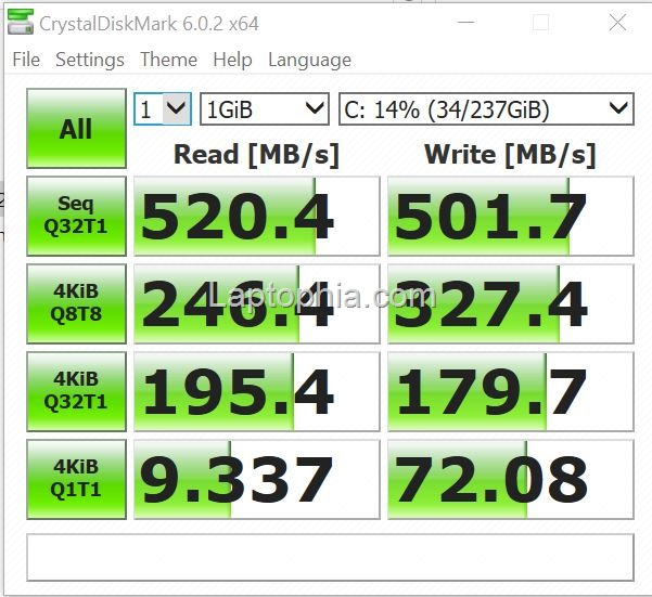Benchmark CrystalDiskMark 6.0.2 Asus VivoBook S430UN – SSD