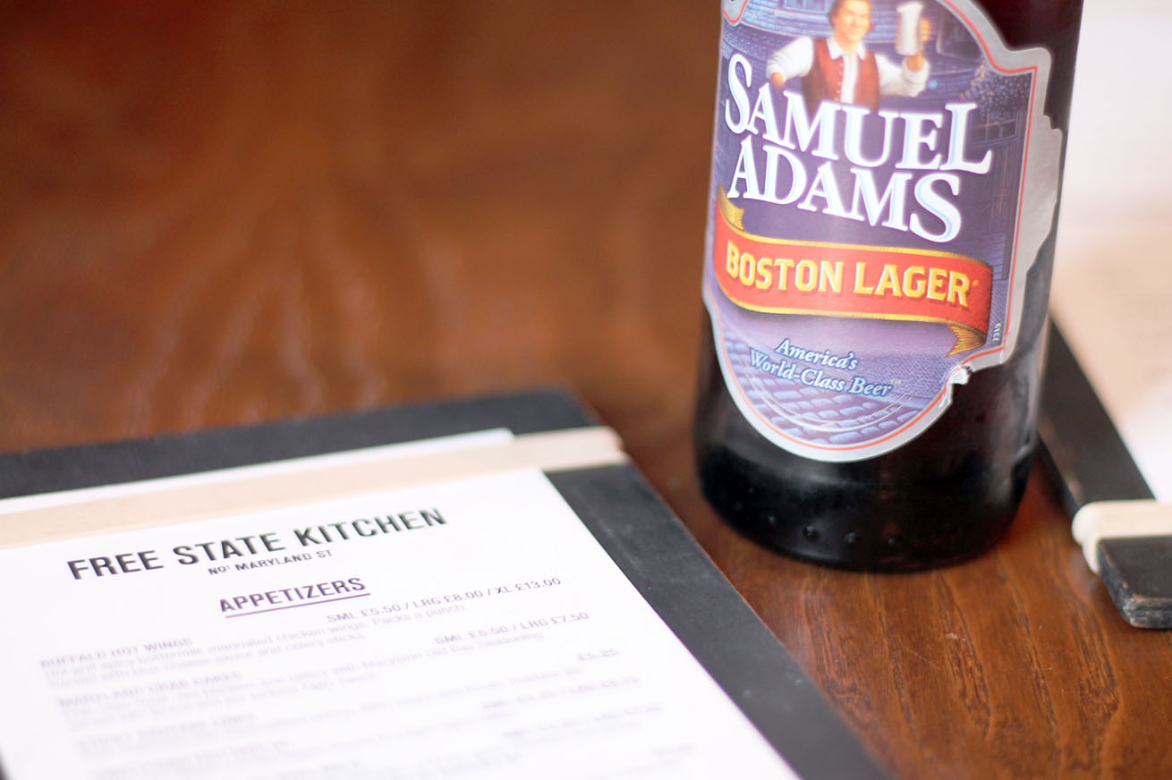 Sam Adams beer and Free State Kitchen menu