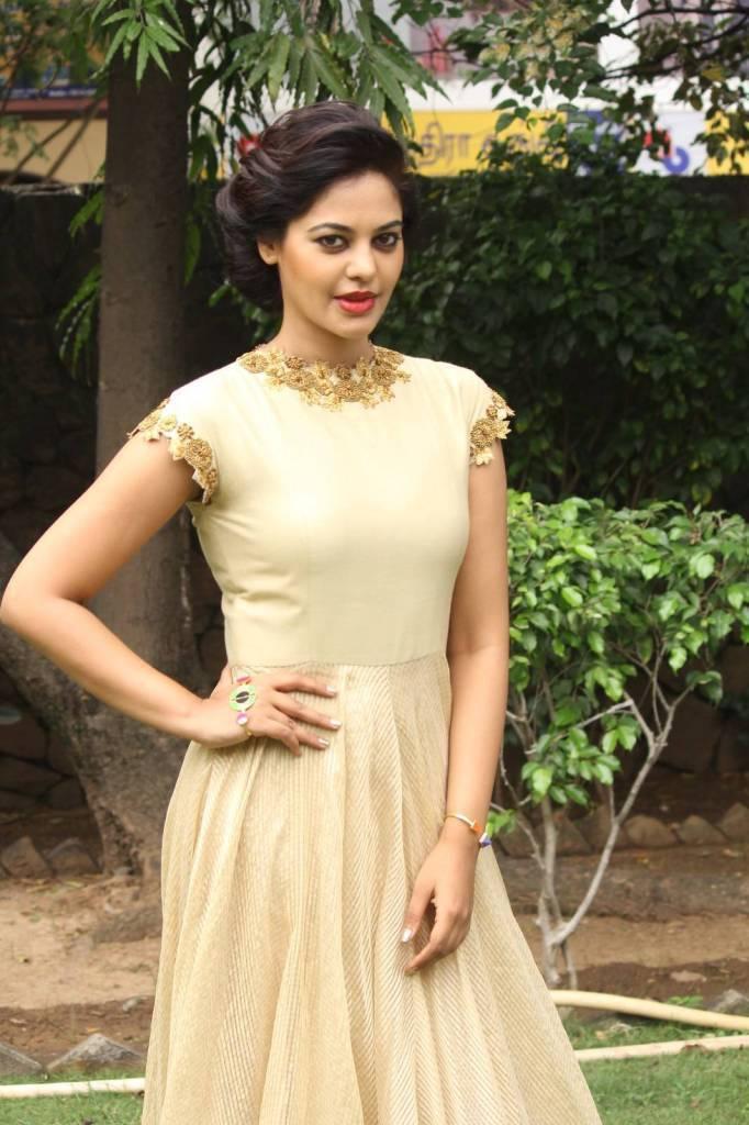 Hot Actress Bindu Madhavi Smiling Face Photos In White Dress