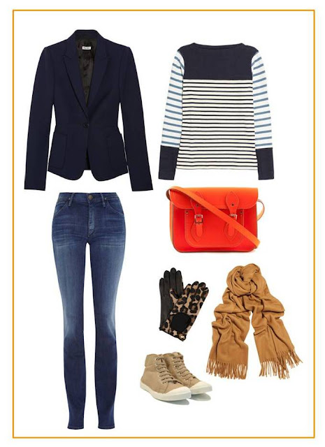 Miu Miu blazer, MiH top, Goldsign jeans, Agent Provocateur gloves, Acne scarf, Bensimon shoes