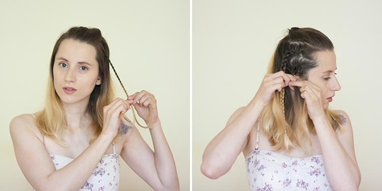 medium hair multiple braids hairstyle tutorial