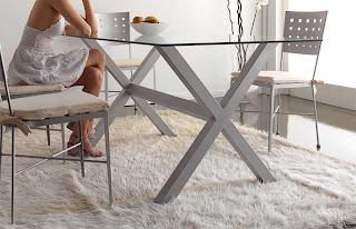 mesa forja, mesa comedor, mesa acero, mesa con cristal