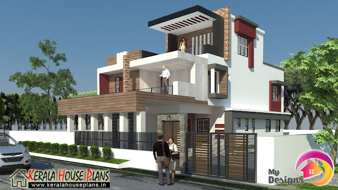 3 floor house plan elevation Design in 2900 Sq.ft