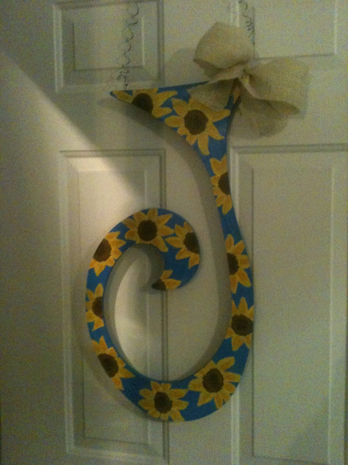 personalized hand painted initial door hanger