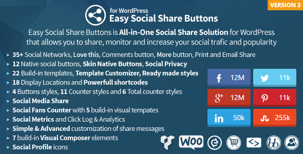Download free Easy Social Share Buttons v3.0.1 For Wordpress Plugin