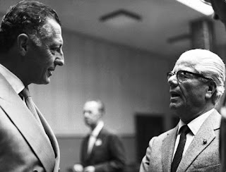 Battista 'Pinin' Farina (right) pictured with  Fiat's Gianni Agnelli