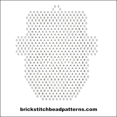 Click for a larger image of the Frankenstein Monster Face Halloween bead pattern word chart.