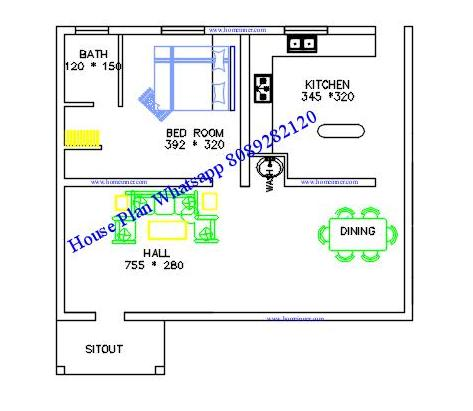 Free 600 sq ft kerala house plan 2 cent indian home for Low cost per square foot house plans