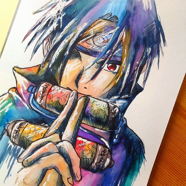 14-Naruto-Sasuke-Lisa-Marie-Melin-LittleGeekyFanArt-Fan-Art-Comic-Manga-and-Video-Game-Paintings-www-designstack-co