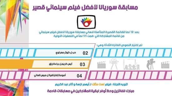 فيلم حب لكوثر مصراني يحصد المركز الأول في مسابقة سوريانا