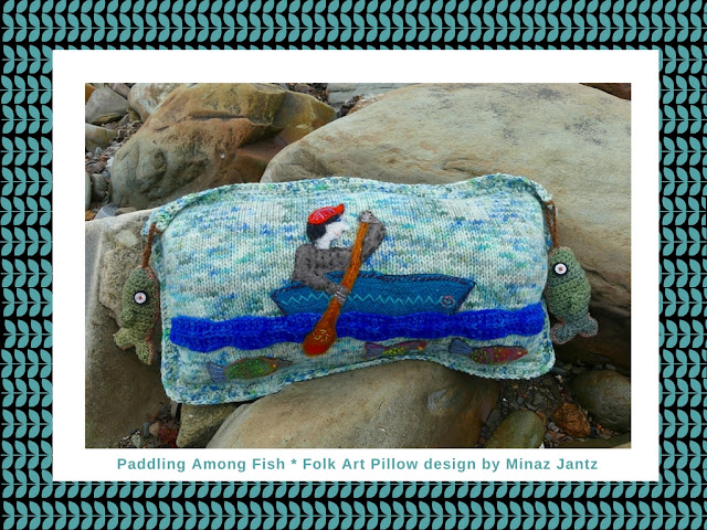 Paddle Among Fish Folk Art Pillow design by Minaz Jantz