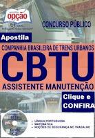 Apostila Concurso CBTU de Belo Horizonte 2016, para todos os cargos Companhia Brasileira de Trens Urbanos BH