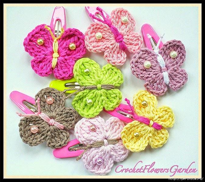 Mariposas de primavera tejidas al crochet - con patrones | Crochet y ...