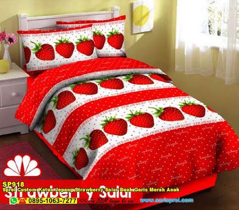 Sprei Custom Katun Jepang Strawberry Salur Buah Garis Merah Anak