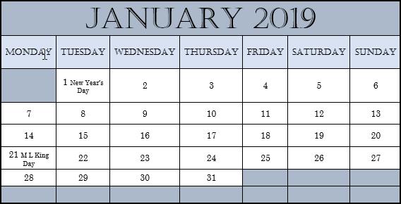2019 Monthly Calendar in Word
